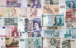 Money of the different countries. Royalty Free Stock Photo