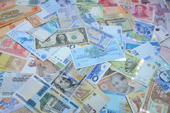 Money of the different countries. Royalty Free Stock Images