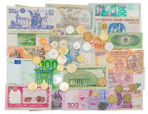 Money different countries in circulation at different times Stock Photos