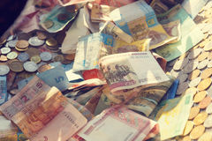 Money of different countries. Money of different denominations and different countries Stock Photos