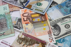 Money from different countries. Dollars, euros, hryvnia, rubles Royalty Free Stock Photos