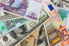 Money from different countries dollars, euros, hryvnia, rubles Stock Image