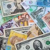 Money from different countries dollars, euros, hryvnia, rubles Royalty Free Stock Photography