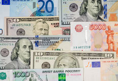 Money from different countries: dollars, euros, rubles. Background Stock Photography