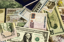 Money of different countries. Royalty Free Stock Photography