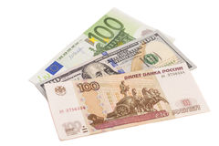 Money from different countries: Euro,Dollars and the Russian rub Royalty Free Stock Images