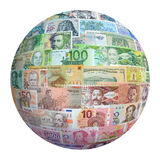 Money of the different countries. Royalty Free Stock Image