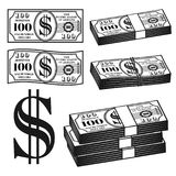 Money different variants vector objects, elements. Money set of different variants vector objects and elements in monochrome style isolated on white background Stock Image