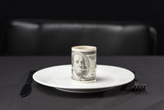 Money for dinner Royalty Free Stock Photography
