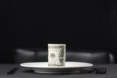 Money for dinner Royalty Free Stock Image