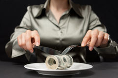 Money for dinner Royalty Free Stock Images