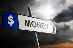 Money direction. Blue traffic sign. Royalty Free Stock Image