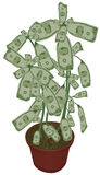 Money does grow on trees. An illustration of a potted plant with money growing as leaves. Money leaves, stems and pot are all on separate layers. Each bill is vector illustration