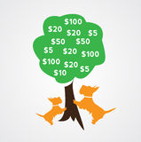 Money doesn't grow on trees. The concept money doesn't grow on trees Stock Photos