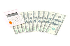 Money. 100 dollar banknotes on a white background Stock Photography