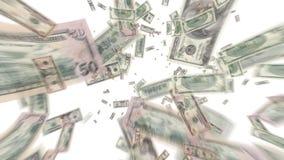 Money Dollar Bills Flying. $100, $50, $20, $10, $5 amnd $1 Dollar Bills flying away with motion blur. HD 1080 stock video