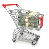 Money, dollar cash banknote, in trolley shopping cart Stock Image