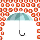 Money - Dollar Coins Rain and Umbrella Royalty Free Stock Images