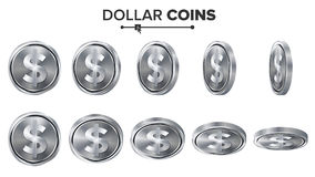 Money. Dollar 3D Silver Coins Vector Set. Realistic Illustration. Flip Different Angles. Money Front Side. Investment. Concept. Finance Coin Icons, Sign Stock Image