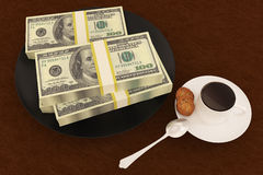 Money dollar on dish. And coffee royalty free stock photos