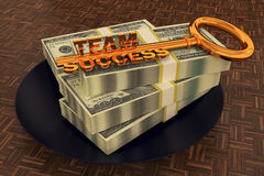 Money dollar on dish and key. Team success stock illustration