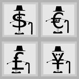 Money. Dollar, Euro, Pound and Yen like gentlemen royalty free illustration