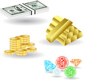 Money dollar gold stone Stock Image