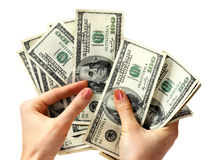 Money dollar in hand. Royalty Free Stock Photo