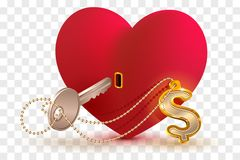 Money dollar is key to heart of your beloved. Red heart shape lock and key with key ring home. Isolated on transparent background vector illustration Royalty Free Stock Images
