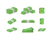 Money Dollar Set Packing in Bundles of Bank Notes. Vector Royalty Free Stock Images