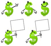 Money Dollar Sign Cartoons. An illustration featuring your choice of 5 green dollar sign cartoons in various poses and moods - happy, pointing, sad, and holding stock illustration