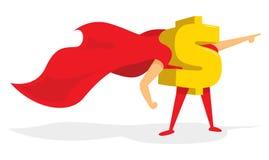 Money dollar sign super hero with cape Stock Photos