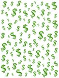 Money Dollar Signs Background. A money and cash symbol background illustration of green dollar signs on a white background Royalty Free Stock Photography