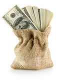 Money dollars in bag isolated on the white background Royalty Free Stock Images
