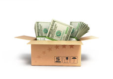 Money dollars in the box. Isolated on white background Royalty Free Stock Images