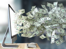 Money or dollars come out of pc monitor, richness or work vector illustration