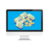 Money Dollars in desktop computer Stock Photos
