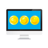 Money Dollars in desktop computer Royalty Free Stock Image