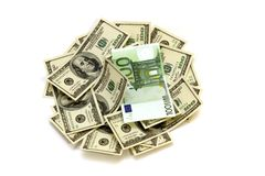 Money dollars & euro Royalty Free Stock Photo