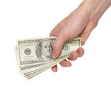 Money dollars in a hand Royalty Free Stock Photography