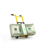 Money dollars on the hand truck Royalty Free Stock Photography