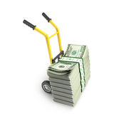 Money dollars on the hand truck Stock Photo
