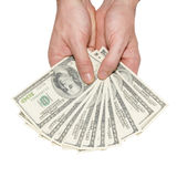 Money dollars in the hands Royalty Free Stock Images