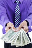 Money dollars in hands Stock Photo