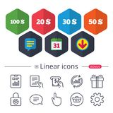 Money in Dollars icons. Hundred, fifty USD. Money in Dollars icons. 100, 20, 30 and 50 USD symbols. Money signs Chat, Report graph line icons. More linear signs royalty free illustration