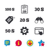 Money in Dollars icons. Hundred, fifty USD. Money in Dollars icons. 100, 20, 30 and 50 USD symbols. Money signs Browser window, Report and Service signs Stock Image