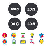 Money in Dollars icons. Hundred, fifty USD. Money in Dollars icons. 100, 20, 30 and 50 USD symbols. Money signs Calendar, Information and Download signs. Stars Royalty Free Stock Images