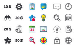 Money in Dollars icons. Ten, twenty, fifty USD. Stock Images