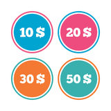 Money in Dollars icons. Ten, twenty, fifty USD. Money in Dollars icons. 10, 20, 30 and 50 USD symbols. Money signs Colored circle buttons. Vector vector illustration