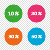 Money in Dollars icons. Ten, twenty, fifty USD. Stock Photography